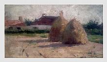Lot de 4 petits tableaux de paysages dont une gravure signée A Hein.