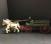 Cast Iron Horse-Drawn Wagon attributed to Kenton Hardware 1925