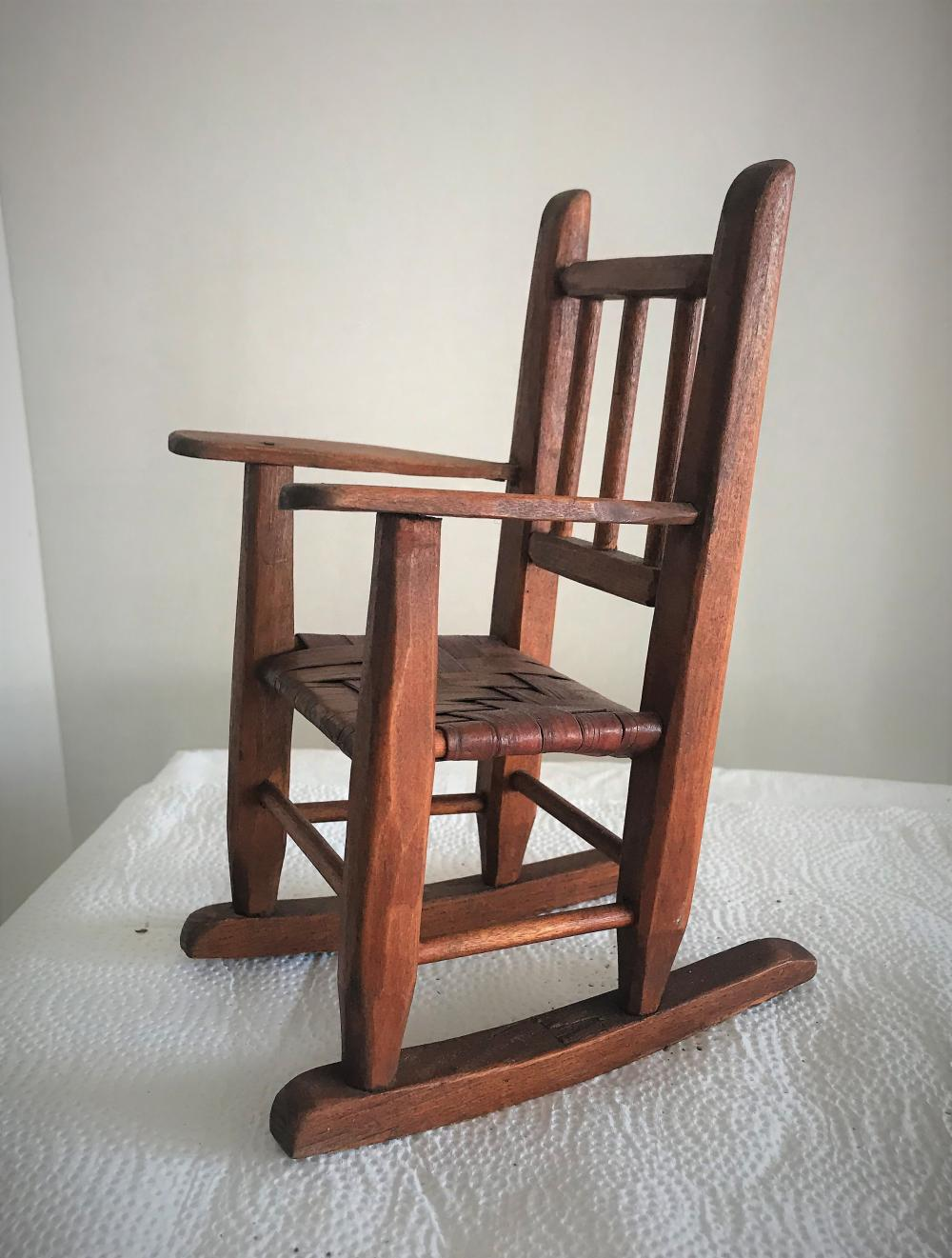 Antique Doll House Rocking Chair - Miniature Dollhouse Furniture For Sale At Online Auction BID NOW