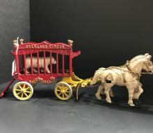 Vintage Overland Circus Wagon with Horses. Overall GOOD Condition