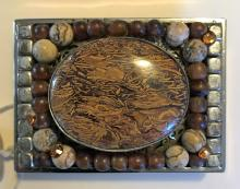 Amber Belt Buckle Hand Tooled