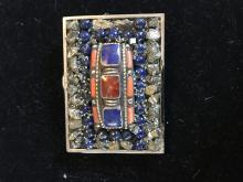 Lapis Belt Buckle Hand Tooled