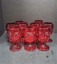 Ruby Red Georgian Stemmed Water Glasses