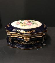 Sevres Chinese Motif Container with hinged top. Hand decorated. 5