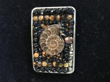 Pyrite Belt Buckle Hand Tooled