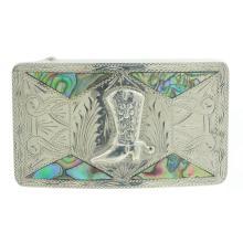 Vintage Classic Estate Men's 925 Silver Abalone Cowboy Boot Buckle