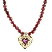 Estate Ladies 14K Yellow Gold Purple Garnet & Diamond Heart Necklace - 16 Inch