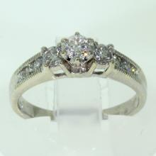 Modern 14K White Gold Three Stone Side Accents Diamond 0.80CTW Engagement Ring