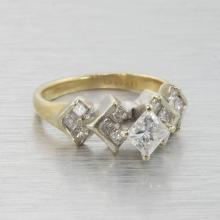 Vintage Estate 14k White and Yellow Gold Princess Cut Diamond Harlequin Ring