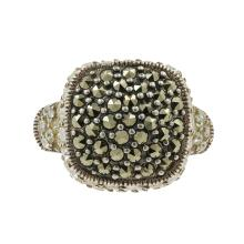 Estate Ladies 925 Silver Marcasite Zirconia Right Hand Cocktail Ring Size 6