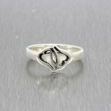 Estate Ladies 925 Silver Double Open Heart Promise Ring Size 6