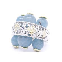 Estate Ladies 925 Silver Ornate Blue Jade Spheres Blue Topaz Cocktail Ring - Size 8