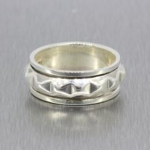 Vintage Classic Estate Ladies 925 Silver Spike Ring Band