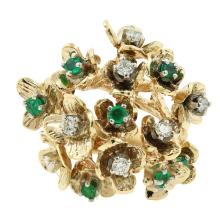 Vintage Estate 14K Yellow Gold Diamond Emerald Floral Branch Motif Cluster Ring