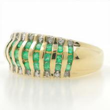 Estate Ladies 14K Yellow Gold Emerald Diamond Anniversary Ring Band - 0.65CTW