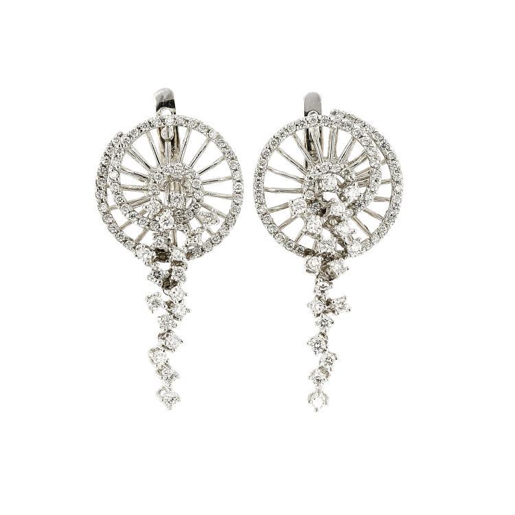 Unique Modern 18k White Gold Diamond Earrings 1 49ctw Br