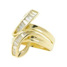 Estate Classic Vintage 14K Yellow Gold Baguette Zirconia Bypass Cocktail Ring