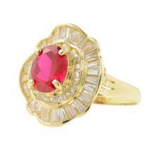 Exquisite Estate Ladies 14K Yellow Gold Diamond Ruby Cocktail Ring - 5.00CTW