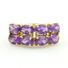 Estate Ladies 14K Yellow Gold Oval Cut Purple Amethyst Gemstone Cocktail Ring