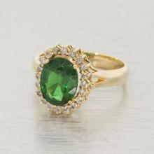 Classic Estate Ladies 14K Yellow Gold Diamond Green Zirconia Halo Cocktail Ring