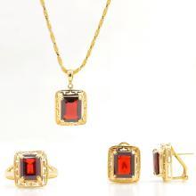 Estate 14K Yellow Gold Garnet Ornate Ladies Pendant Ring Earrings Set - 9.32CTW