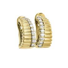 Elegant Modern 18K Yellow Gold Diamond Earrings - Brand New