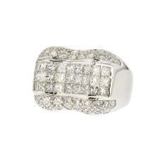 Unique Modern 18K White Gold Diamond Ring 2.56CTW - Brand New