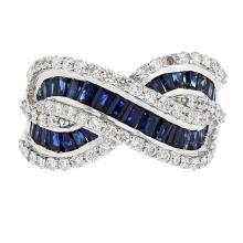 Stylish Modern Ladies 18K White Gold Diamond/Sapphire (1.12CTW/3.12CTW) Ring New