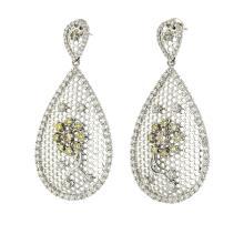 Unique Modern 18K White Gold Diamond Earrings - 4.16CTW - Brand New