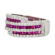 Elegant Modern 18K White Gold Women's Diamond & Ruby Ring - Brand New