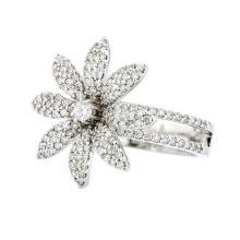 Exquisite Modern 18K White Gold Flower-Shaped Women's Diamond Ring - 1.10 CTW - New