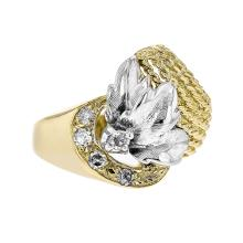 Fancy 14K Two Tone Yellow & White Gold Women's Unique Diamond Ring - Brand New