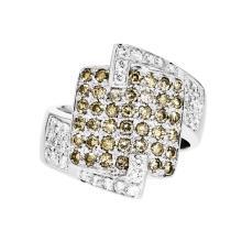 Stylish & Unique 18K White Gold Women's Diamond Ring 1.09CTW - Brand New