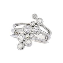 Beautiful & Unique 14K White Gold Sparkling Diamond Modern Women's Ring Brand New