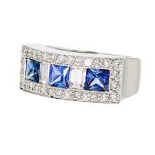 Elegant Modern 18K White Gold Women's Diamond & Sapphire Ring - Brand New