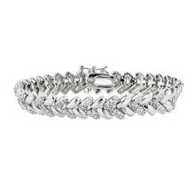 Fancy Modern 14K White Gold Women's Diamond Bracelet 1.95CTW - Brand New