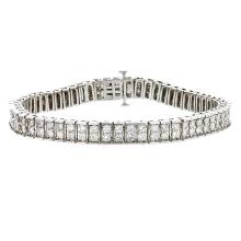 Gorgeous 14K White Gold Sparkling Diamond Women's Bracelet 4.61CTW - Brand New