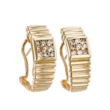 14K Yellow Gold Earrings. Eighteen Round Brilliant Diamonds in Channel Set