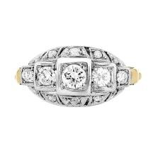 Stunning Modern 18K White & Yellow Gold Women's Diamond Ring - 1.98 CTW - Brand New