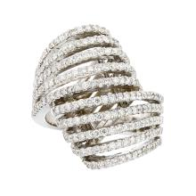 Stylish Modern 14K White Gold Women's Unique Diamond Ring 1.68CTW - Brand New