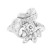 Fancy Modern 14K White Gold Women's Sparkling Diamond Ring - Brand New