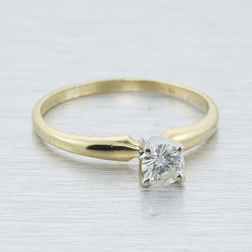Classic Estate 14k Yellow Gold Diamond - 0.25CTW - Solitaire Engagement Ring