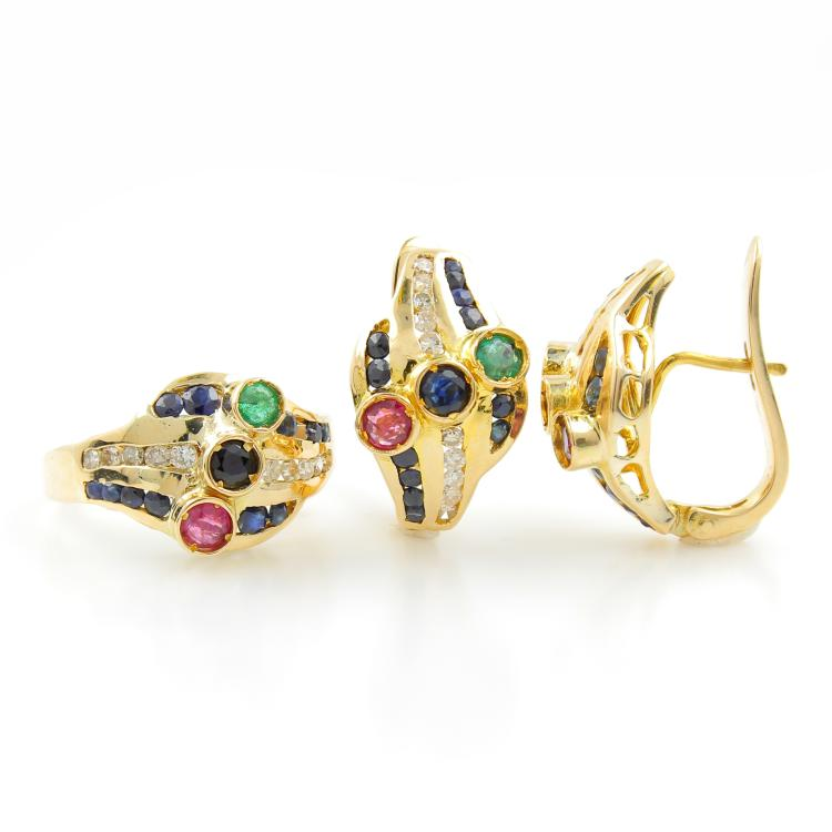 Classic Estate 14K Yellow Gold Diamond Emerald Spinel Ladies Ring Earrings Set