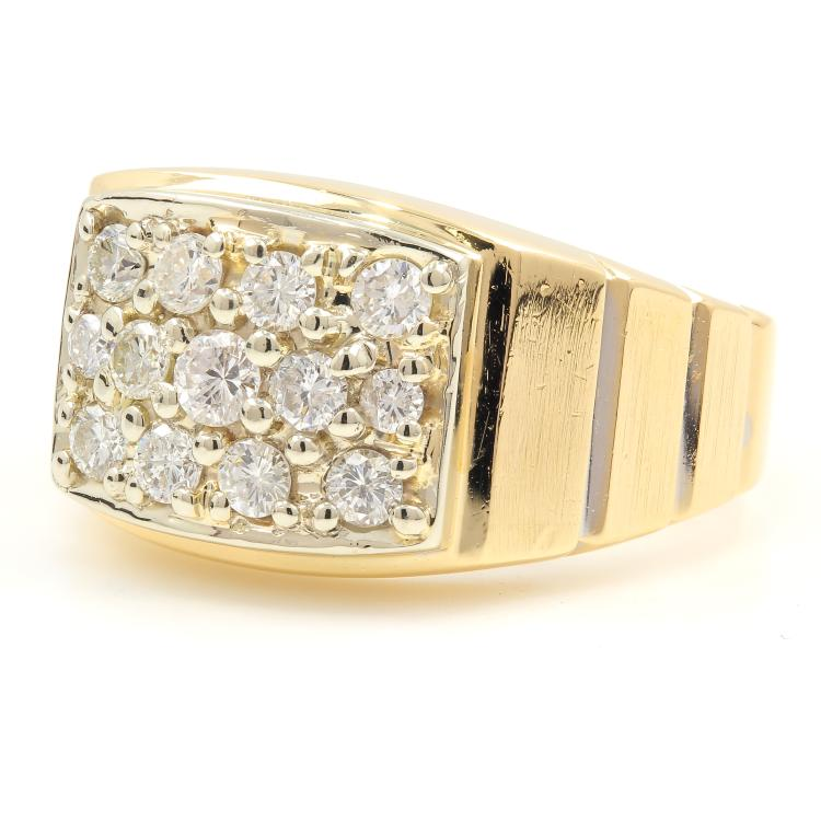 Vintage Classic Estate 14K Yellow Gold Men's Diamond Ring - Size 11 - 0.99CTW