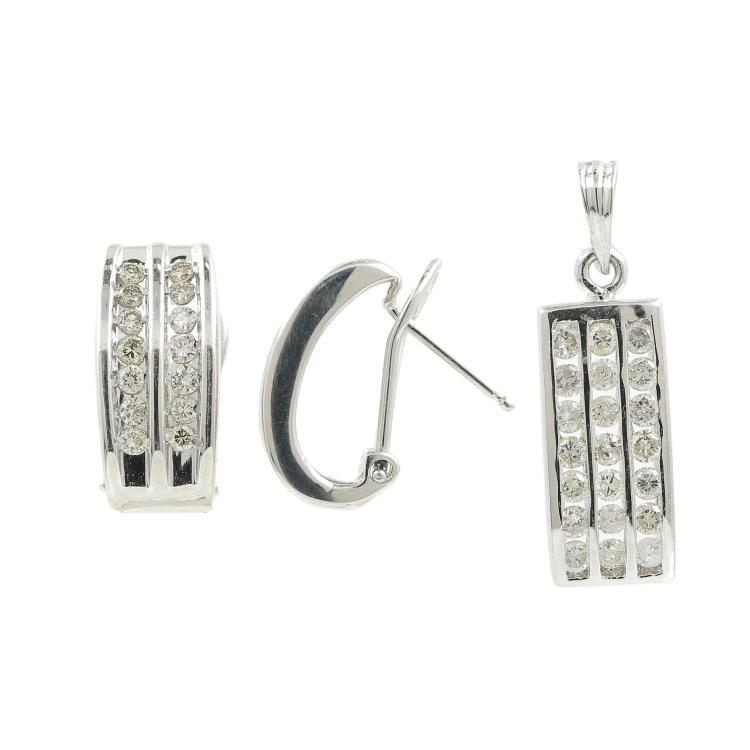 Modern 14K White Gold Diamond Huggie Hoop Ladies Earrings Pendant Set - 0.98CTW