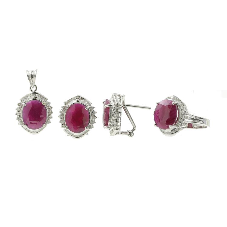 Classic Estate 18K White Gold Diamond & Ruby Ladies Earrings Ring Pendant Set