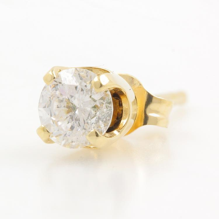 Vintage Estate 14K Yellow Gold Diamond Single Push Back Stud Earring - 0.20CTW