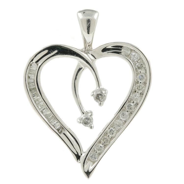 Estate Ladies 10K White Gold Natural Diamond Heart 25MM Pendant