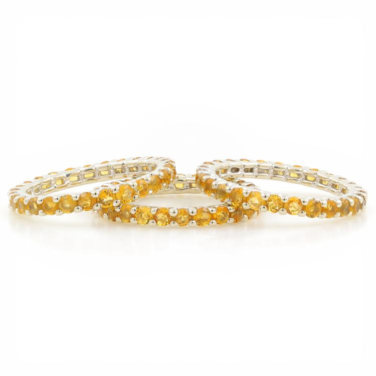 Exquisite 10K White Gold Citrine Stackable Trio Eternity Ladies Rings - 4.00CTW