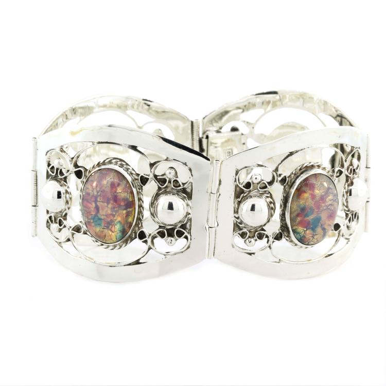 Estate 925 Silver Ladies Multi-Colored Holographic Ornate 7